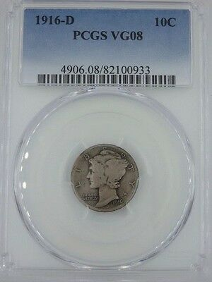 1916-D VG08 PCGS Mercury Dime     KEY COIN IN COLLECTION