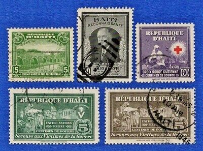 Haiti Scott #254-255 Lot of 5 Stamps 1942 Collection Used
