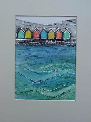 Seaside: Beach huts at Whitby, Yorkshire - original collagraph.