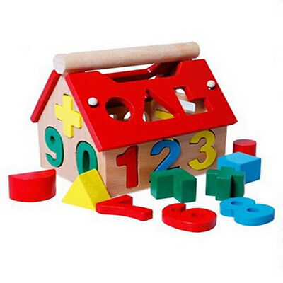New Wooden Toy Toys House Number Kids Children Building Educational Intellectual