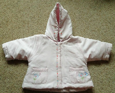 Baby Girls Lined And Padded Coat With Hood From Mothercare 3-6 Months Ex Cond