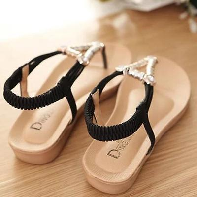 Women Summer Bohemia Sweet Beaded Sandals Clip Toe Sandals Beach Flat Shoes BK39