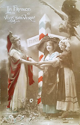 WW I French Patriotic Postcard Relating to Cpt. William Blanchard Canadian AVC