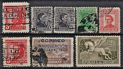 Uruguay Lot of 8 Stamps 1930's-1940's Collection Used (1 MH)