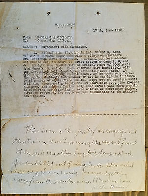 WW I U.S.Navy Memo Relating to U.S.S. Orion Engagement with Submarine June, 1918