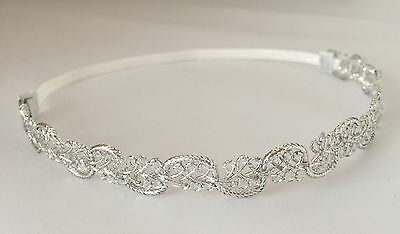 Silver tiara headband for christening baptism wedding Christmas, UK handmade