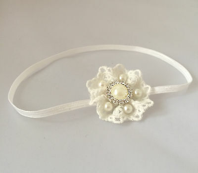 Lace headband ivory baby flower hair band baptism christening wedding handmade