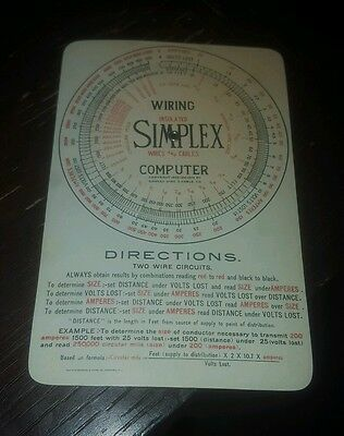 Vintage Simplex Insulated wires & cables circular slide rule wiring computer