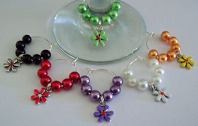 6 X Wine Glass Rings Charms With Enamelled Tibetan Silver Flowers