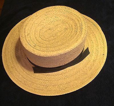 Vintage Men's Amish Style Straw Hat Size 7 1/4--New/Old Cool!