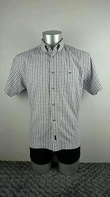 Men's Le Shark short sleeved shirt, white with purple check, large [ref:1170]