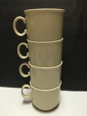 Lord Nelson LNE2 Set/4 Tea Cups Coffee Mugs Beige China Stackable