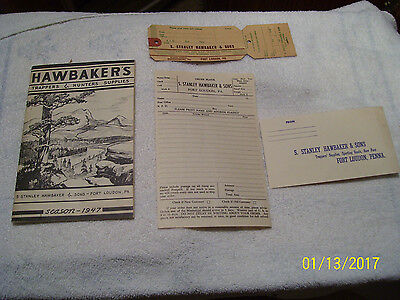 1947 Hawbaker's Trappers & Hunters Supplies Catalog, Fur Tag, Order Form