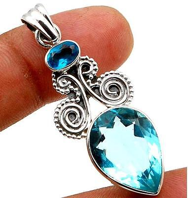10CT Flawless Blue Topaz 925 Solid Sterling Silver Pendant 47mm Long