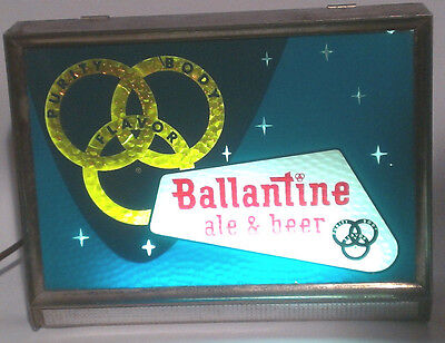 Ballantine Ale & Beer Motion Light Up Advertising Bar Sign  3 Rings square 1950s