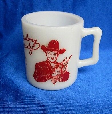 HOPALONG CASSIDY COWBOY MILK GLASS MUG RED GRAPHICS CHILDS 1950's