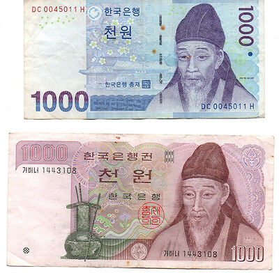 KOREA ₩ 1000 x 2 Different periods / Fine cond notes