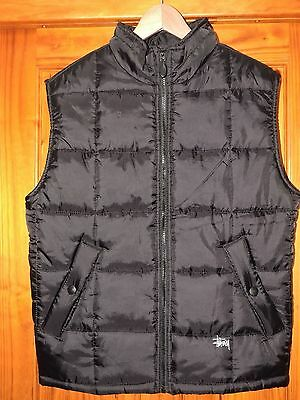 Authentic STUSSY Black Padded Mens Padded Vest Size - Small  VGC