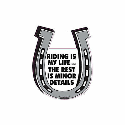 Riding Is My Life The Rest Is Minor Details Horse Horseshoe Car Magnet