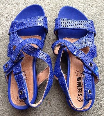 Stegmann Women's Leather Electric Blue Sandals Size 38