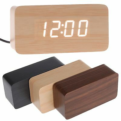 Modern Wooden Wood USB/AAA Digital LED Alarm Clock Calendar Thermometer HL