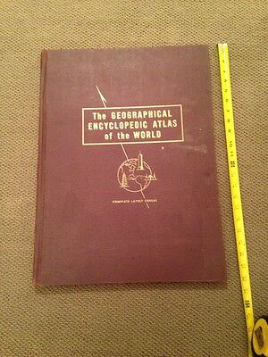 "1953 Vintage 22x16"" Geogrpahical Encyclopedia Atlas of the world Hardcover"