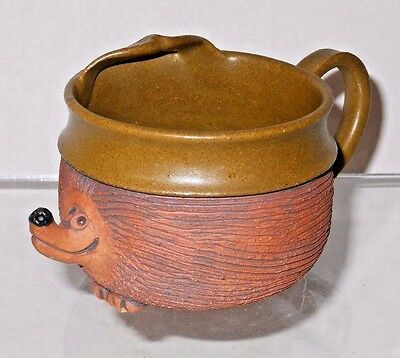 Unusual Artist Rendition Pottery Mustache Cup w/ Hedgehog - Signed