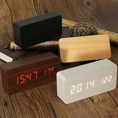 Wooden Wood Digital LED Alarm Modern Clock Time Calendar Thermometer USB/AAA HM