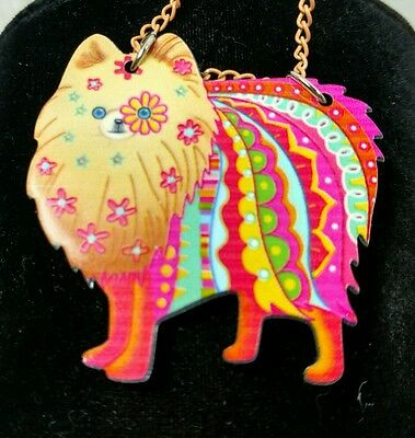 Pomeranian Jewelry Pom Dog Pup Pendant Necklace Floral Pink