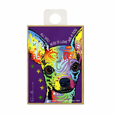 Chihuahua Purple All You Need Is Love And A Dog Dean Russo Wood Fridge Magnet