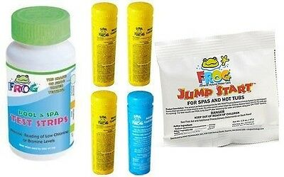 2-3 DAY SHIPPING Spa Frog Kit 4 pack 3 Bromine 1 Mineral Test Strips Jump Start