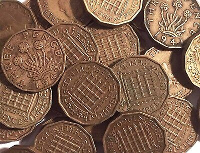 British Brass Threepence Coins 3d - Choose Your Year - Vintage Three Pence