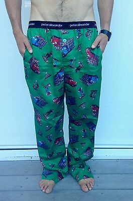 Brand new Peter Alexander men's green truck printed pyjama sleep pants, size L