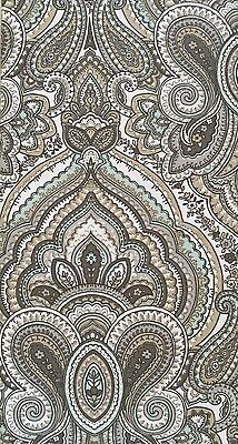 Tahari Fabric Shower Curtain MACKENZIE Paisley Medallion Taupe Beige, Mint Gray
