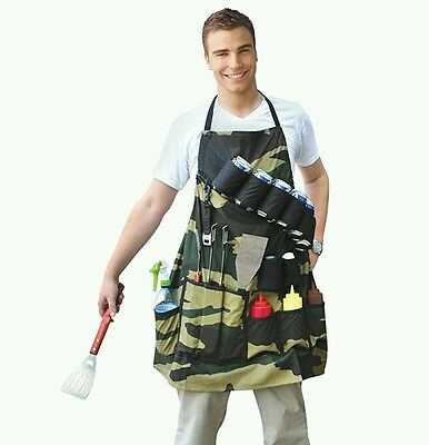 The Grill Sergeant BBQ Apron -Grilling Apron, Barbecuing beer holster camo new