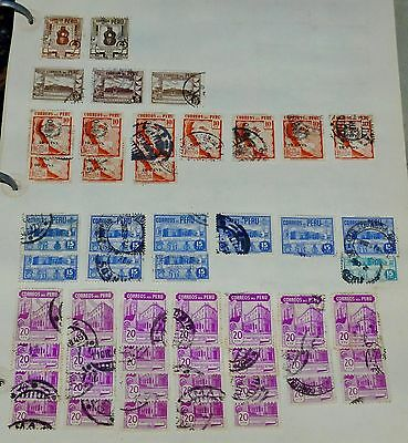 Peru Lot of 111 Stamps 1920's-1930's-1940's Collection Used on Pages