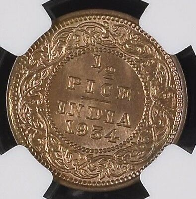 British India 1/2 Pice 1934C NGC Graded MS 64 RB