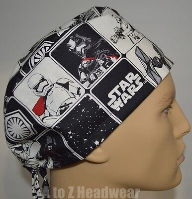 STAR WARS The Force Awakens Black Grid TRADITIONAL Unisex Surgical Scrub Hat Cap