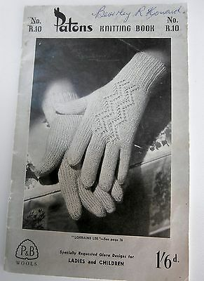 VINTAGE PATONS KNITTING PATTERN BOOK No: R 10  GLOVES  for Ladies / Children