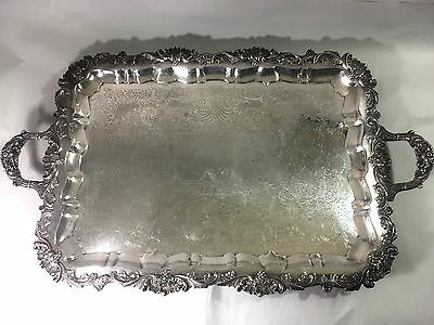Large Antique Silver-plated Tray LONDON Hallmark 18th Century