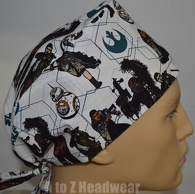 STAR WARS VII Heroes All Over TRADITIONAL TIe Back Unisex Surgical Scrub Hat Cap