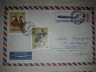 Commemorative USED Envelope&Stamps POLAND 40 Years of Polish Airlines LOT 1969
