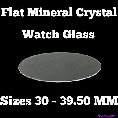 1x Mineral Crystal Glass 30-39mm LARGE WATCH Flat Replacement Glasses Crystals