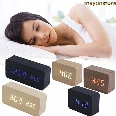 NEWEST Modern Wooden Wood USB/AAA Digital LED Alarm Clock Calendar Thermometer H