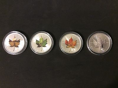 Silver Coin Maple Leaf - 1 Oz Pure 999.9 - 4 Seasons Edition - Set Of 4 Coins