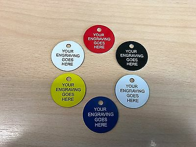 Pet Dog Cat ID Collar Tags - FREE ENGRAVING, 40mm Plastic Disc. 5 COLOURS