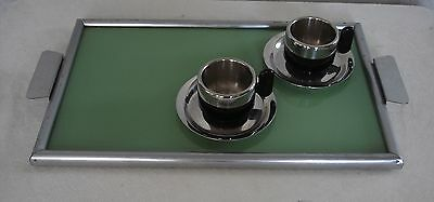 60s small Green Glass Tray, Chrome Frame, Atomic Space Age Mid Century Modern