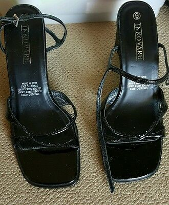 Innovare black patent leather strappy sandals/wedges size 9