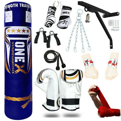 15 Pieces 4ft Heavy Filled Boxing Punch Bag Set,Gloves,Bracket,Chains MMA Pads