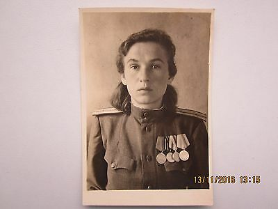 USSR. Original photo Military female paramedic Awards.From personal file soldier